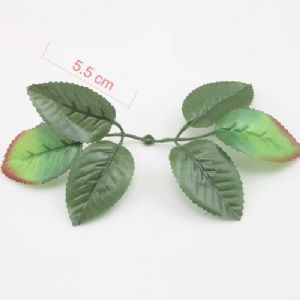 Rose leaf, Artificial fibers, Dark green, Light green, 5.5cm  x  3.5cm, 10 pieces, [ST876]